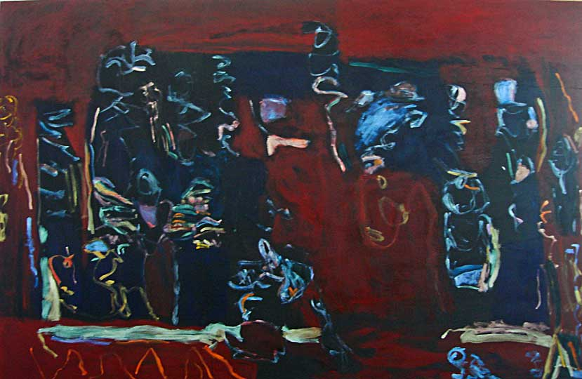"""Black and Blue"", Acrylic on Canvas, 58""x90"", February 2006, 100604"