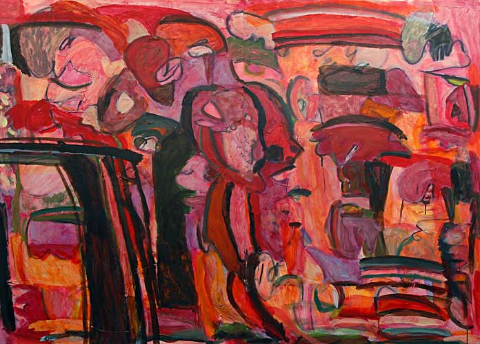 """Night at the Theater"", Acrylic on Paper, 44""x60.25"", March 2005, 100515"
