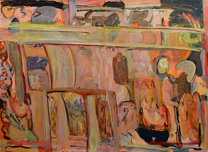 """Peaches and Lime"", Acrylic on Paper, 44""x60.75"",  May 2005, 100513"