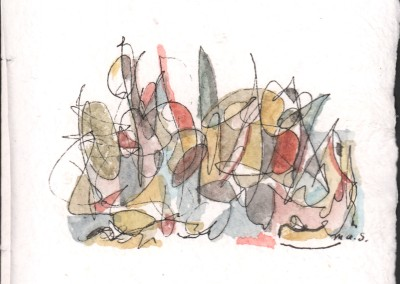 """Page 1 from A Lament Without Words, pen and watercolor on paper, 6""""x6"""", 2012, 400220"""